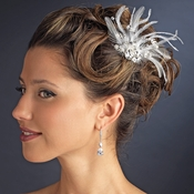 * Gorgeous Rhinestone Dazzle Feather Bridal Hair Comb - Comb 8395 White