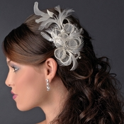 Vintage Flower Bridal Hair Comb w/ Clear Rhinestones 9796