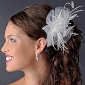 * Luxurious White or Ivory Tulle & Feather Bridal Comb w/ Austrian Crystals 3201