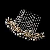 Exquisite Gold Floral Hair Comb w/ Clear Rhinestones & Austrian Crystals 8839