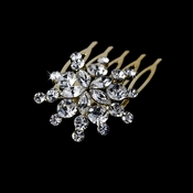 Ravishing Gold Starburst Hair Comb w/ Clear Rhinestones 8285