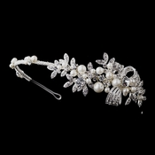 Antique Silver Crystal Pearl Bridal Headpiece HP 939