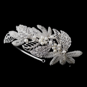 Antique Silver Crystal & Pearl Leaf Headpiece 947