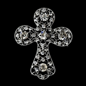 * Antique Silver Clear Rhinestone Cross Brooch 105