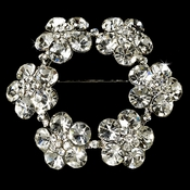 Elegant Wreath Bridal Pin for Hair or Gown Brooch 21 Antique Silver Clear with Rhinestones