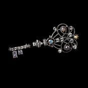 * Brooch 72 Antique Silver Clear and AB Rhinestones