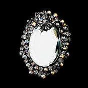 * Antique Silver Clear Aurora Borealis Rhinestone Mirror Brooch 103