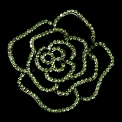 Brooch 6277 Antique Silver with Light Green Rhinestones