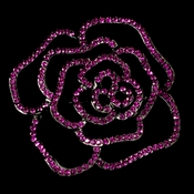 * Antique Silver Fuchsia Rhinestone Rose Bridal Brooch 6277