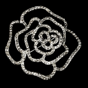 * Antique Silver Rhinestone Rose Bridal Brooch 6277