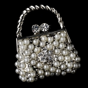 * Brooch 76 Antique Silver Diamond White Pearl and Clear Rhinestone Purse Pin