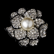 * Black Brooch 30395 Rhinestone & Diamond White Pearl Rose Brooch