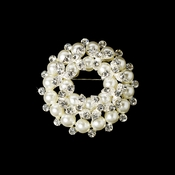 * Silver White and Rhinestone Wreath Brooch 3440