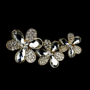 * Three Flower Rhodium Brooch 108 Encrusted with Shadow Rhinestones