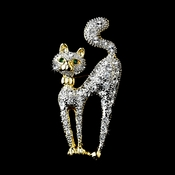 * Gold Trimmed Silver Clear Cat w/ Green Eyes Brooch 101