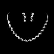 Necklace Earring Set NE 138 Silver White