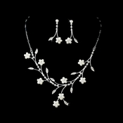 Lovely Silver & White Pearl Flower Necklace & Earring Set 142