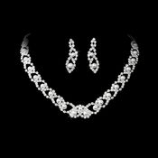 Elegant Silver White Pearl & Crystal Jewelry Set NE 150