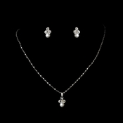 Necklace Earring Set 110 Silver White