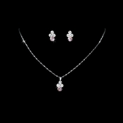 Necklace Earring Set NE 110 Silver Pink