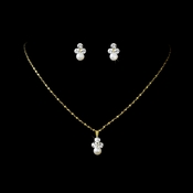 Necklace Earring Set  NE 110 Gold Ivory