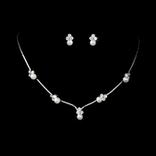 Silver & White Pearl Necklace & Earring Set NE 117