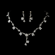 Rhodium Necklace Earring Set NE 171 White