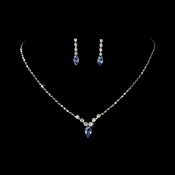 Necklace Earring Set 307 Silver Light Blue