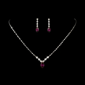 Necklace Earring Set 307 Silver Fuchsia