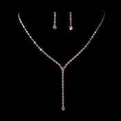 * Silver Light Amethyst Y Drop Crystal Jewelry Set NE 313