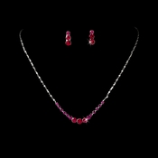 * Necklace Earring Set 305 Silver Fuchsia  * Out of Stock *