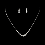 Simple & Sparkling Silver Crystal Jewelry Set NE 305
