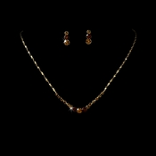 Necklace Earring Set 305 Gold Brown