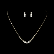 Simple & Sparkling Gold Crystal Jewelry Set NE 305