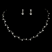 * Silver & Clear Crystal Bridal Jewelry Set NE 319