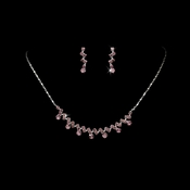 * Silver Light Amethyst Rhinestone Bridal Jewelry Set NE 324