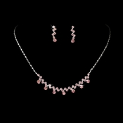 * Necklace Earring Set 324 Silver Pink***5 Left***