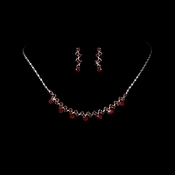 * Silver and Burgundy Necklace Set NE 324