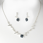 * Enchanting Silver Navy Blue Floral Bridal Jewelry Set NE 330