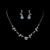 * Enchanting Silver Light Blue Floral Bridal Jewelry Set NE 330