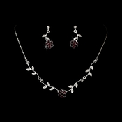 * Enchanting Silver Dark Amethyst Floral Bridal Jewelry Set NE 330