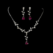 Necklace Earring Set 328 Dangle Silver Clear Fuchsia