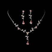 Silver Pink Dangle Floral Bridal Set NE 328