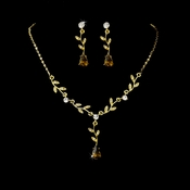 Necklace Earring Set 328 Dangle Gold Clear Brown
