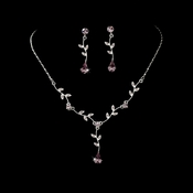 Silver Light Amethyst Dangle Floral Bridal Set NE 328