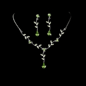 Silver Green Dangle Floral Bridal Set NE 328 ***1 Left****