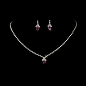 Beautiful Fuchsia Crystal Jewelry Set NE 342