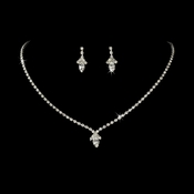 Beautiful Silver Clear Crystal Jewelry Set NE 342
