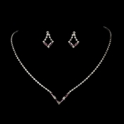 Silver Light Amethyst Rhinestone Necklace & Earring Set NE 341