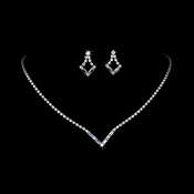 Silver Light Blue Rhinestone Necklace & Earring Set NE 341